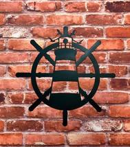 Metal art- 16 gauge steel in black- Lighthouse Ship wheel wall sign- bea... - $60.00