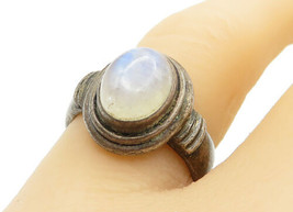 925 Sterling Silver - Vintage Cabochon Cut Moonstone Cocktail Ring Sz 7 ... - $28.27