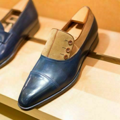 Handmade Men's Two Tone Button Shoes, Suede and Leather Shoes