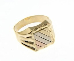 SOLID 18K YELLOW WHITE ROSE GOLD BAND MAN RING SATIN LUMINOUS, MADE IN ITALY image 1