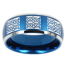 8mm Multiple Celtic Dome Brushed Blue 2 Tone Tungsten Carbide Rings for Men - $39.99