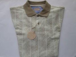 Haggar 333946 Plaids Short Sleeve Men's Polo T-Shirt Bamboo S MSRP $45 - $16.52