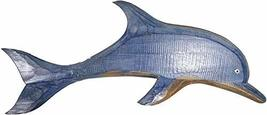 Lg Design Single Hand Carved Blue White Wash Wooden Dolphin Wall Art Hanging Tro - $24.69