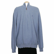 POLO RALPH LAUREN Blue Heather Pima Cotton Mesh Half Zip Pullover Sweate... - $67.99