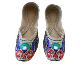 Women Shoes Mojari Indian Ethnic Leather Flip-Flops Handmade Jutties US 6.5 - £20.43 GBP