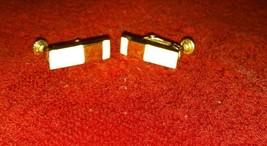 Vintage Napier signed gold tone metal overlay enamel screw back/clip on earrings - $9.99