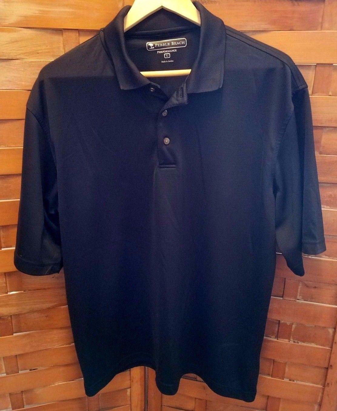 Pebble beach performance polo golf shirt black short for Pebble beach performance golf shirt