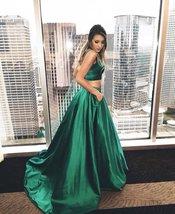 Women's Two Piece Prom Dresses 2018 Long Straps Satin Evening Party Dress Pocket - $98.99