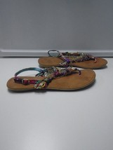 NINE WEST Purple Green Pink Yellow Casual Embellished Thong Sandals Size... - €22,72 EUR