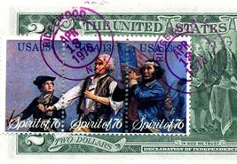 MONEY US $2 DOLLARS 1976 NEW YORK  FIRST DAY STAMP CANCEL & HANUKKAH GEM UNC image 5