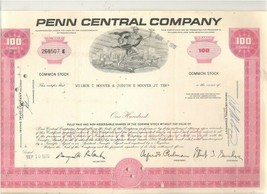 The Penn Central Railroad Company Stock Certificate 100 Shares Hoover - $1.99
