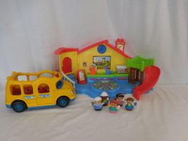 Fisher Price Little People Place Musical Preschool Playset School Bus Ex... - $29.02