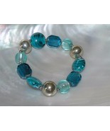 Estate Shades of Aqua Blue Glass & Silvertone Bead Stretch Bracelet – wi... - $8.59