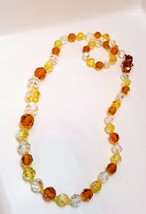 Vintage Faceted Cut CRYSTAL  Beaded Necklace Clear, Yellow and Amber  - $20.00