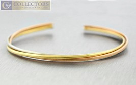 Lovely Ladies Cartier 18K Yellow, Rose, & White Gold Crossover Cuff Brac... - $2,349.95