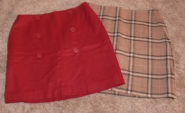 Lot of 2 ANN TAYLOR Petite Wool Wrap Skirt Red Tan Checked Size 8P  - $21.00