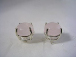 ROSE QUARTZ  EARRINGS SET IN STERLING SILVER ROUND 8MM CABOCHON - $28.01