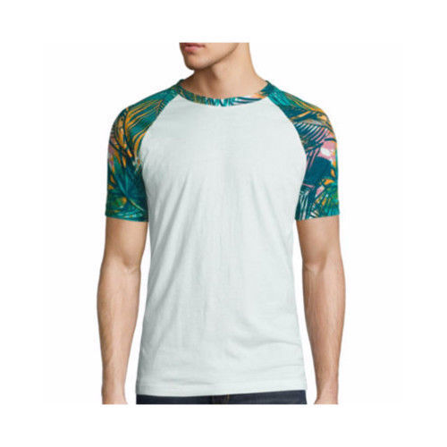 Arizona Men's Short Sleeve Crew Neck T-Shirt Green Palm Print Size Large NEW