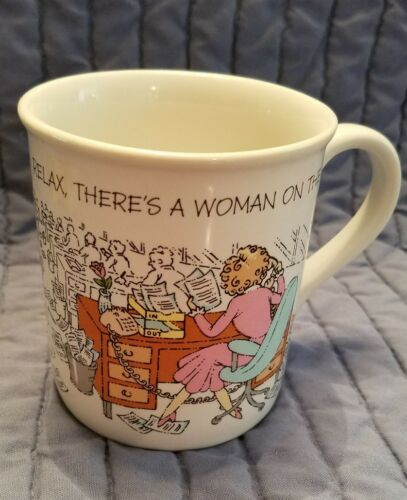 Primary image for Vtg 1986 Hallmark Coffee Mug Cup Relax There's A Woman On The Job Comic Gift
