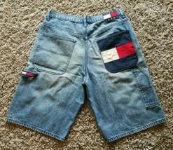 Vintage 90s Tommy Hilfiger FLAG Spell Out Logo HIP HOP Mens Denim Shorts... - $67.85