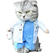 NACOCO Dog Cat Doctor Costume Pet Doctor Clothing Halloween Jeans Outfit... - $11.87