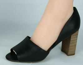 Franco Sarto Emma Damen Schuhe Absatz Leder Oben Ope Zehen Schwarz Größe 9W - $31.48