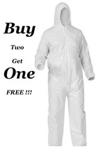 White Tyvek DISPOSABLE COVERALLS Bunny Suit Hood Dust Spray Proof Covera... - $8.99
