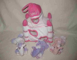Great Lot Of 3 UNIPAC Unicorns And Castle Plush Stuffed - $57.87