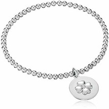 """.925 Sterling Silver With Diamond Accent Beaded Stretch Bracelet """"Lucky ... - $32.35"""