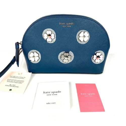 NWT NEW! Kate Spade Medium Dome Cosmetic Bag Pouch Cameron Applique Flower Blue - $25.50