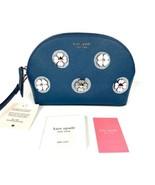 NWT NEW! Kate Spade Medium Dome Cosmetic Bag Pouch Cameron Applique Flower Blue - $25.50