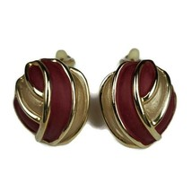 VINTAGE PAINTED DARK RED FAUX GOLD CLIP ON EARRINGS COSTUME JEWELRY - $13.85
