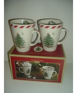 Spode Christmas Tree Peppermint Conical Mugs with Spoons in Box - $44.99