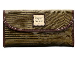 Dooney & Bourke Lizard embossed Leather Continental Wallet Olive/T'Moro - $115.69