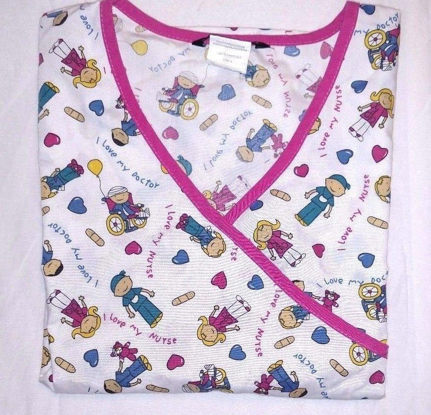 a22aff2f3ec Cassandra O Womens Scrub Top V Neck L Shirt Pockets I LOVE NURSES SCRUBS  LARGE