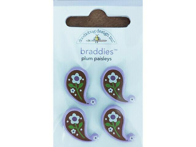 Doodlebug Designs Plum Paisleys Brads #2096