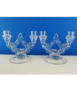 Cambridge Crystal 2 Lite Keyhole Stem Glass Candlestick Candle Holder + ... - $33.91