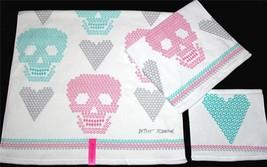 2 Betsey Johnson Diamond Skulls Hearts Pink Teal Grey Velour Bath Towels NWT - $39.99