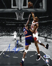 SCOTTIE PIPPEN Signed Bulls Dunking On Patrick Ewing Spotlight 8x10 Phot... - £188.34 GBP