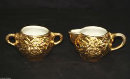 Old Vintage Open Sugar Bowl & Creamer Set Flower w Diamond Pattern & Gol... - $21.77