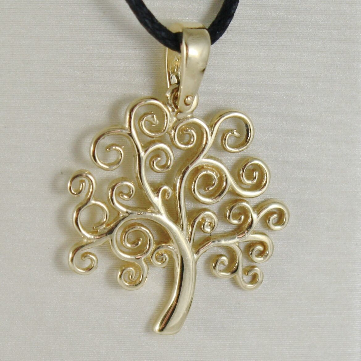 18K YELLOW GOLD TREE OF LIFE PENDANT, CHARM, 0.95 INCHES, 24 mm, MADE IN ITALY