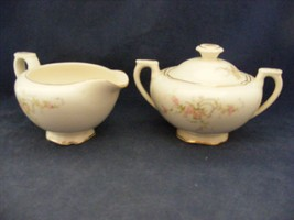 Canonsburg Pottery Keystone Pink Roses Gold Trim Covered Sugar & Cream P... - $15.96