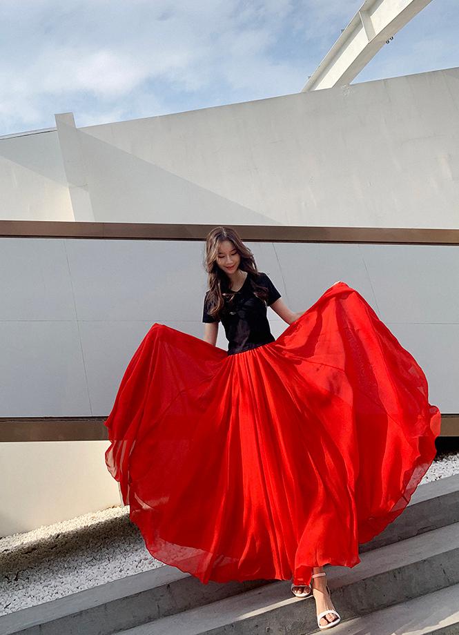 Red chiffon skirt 3