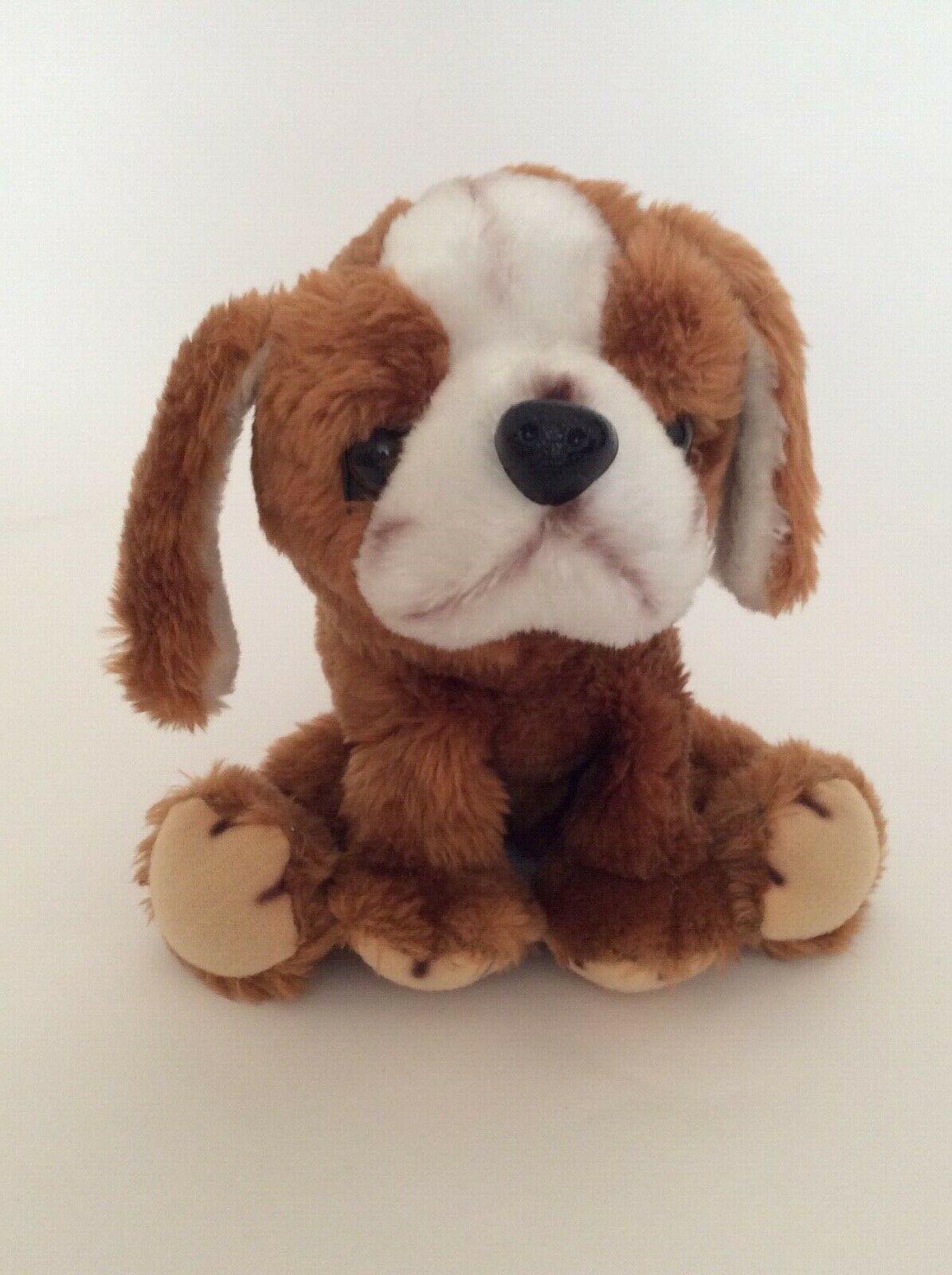 """RUSS BERRIE brown BERNARD THE ST BERNARD PUPPY DOG 8"""" vintage plush 1977"""