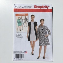 Simplicity 1197 1960s Color Block Dress and Coat Misses 6-14 Uncut Pattern FF - $7.80