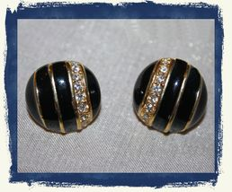VTG 80s ALLISON REED Black Enamel/Gold Tone/Rhinestones Round Pierced Ea... - $7.60