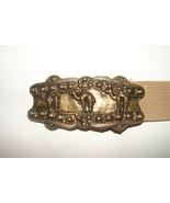 "Vintage Brass Bronze Cast 3 Camel Sculpture Belt Buckle 5"" X 2"" WITH 40""... - $13.85"