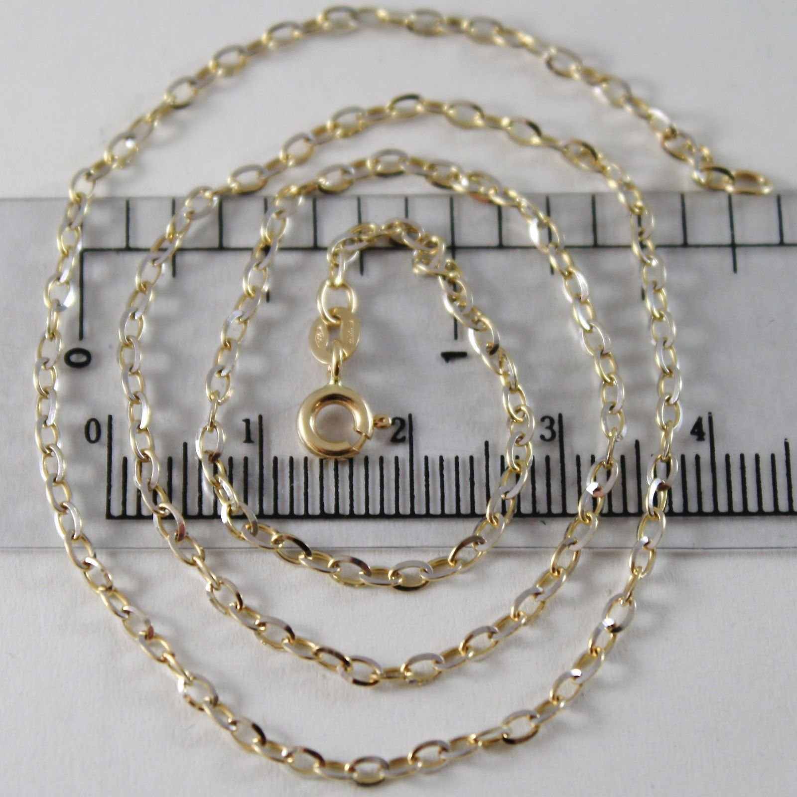 GOLD CHAIN WHITE AND YELLOW 750 18K, MINI ROLO' OVAL 2 MM, LONG 40 0,5 45 CM