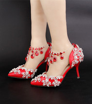Women Swarovski Ankle Straps Wedding Shoe,red glitter pumps,bridal shoes - $88.00