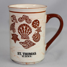 St Thomas US Virgin Islands Coffee Mug Souvenir Seashells Cream and Brown - $18.99